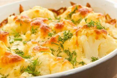 Цветная капуста в духовке с сыром и со сливками